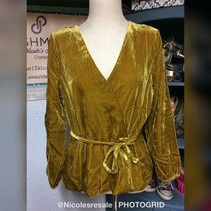 J. Crew Vintage Gold Velvet Blouse